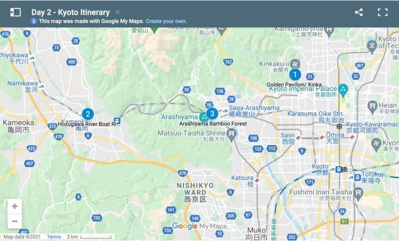 Map day 2 Kyoto itinerary