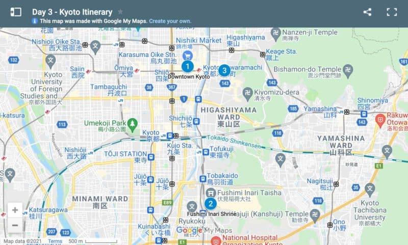Map day 3 Kyoto itinerary
