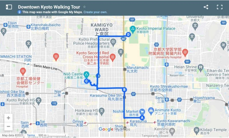 Map walking tour of Kyoto downtown