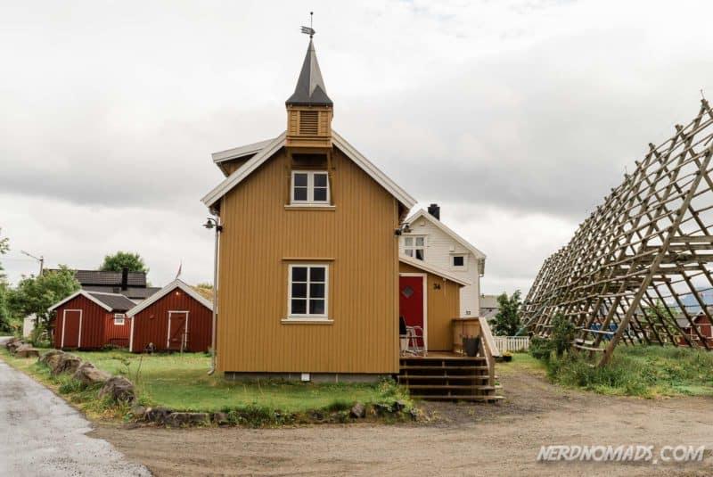 Cute yellow house Svinoya, Svolvaer, Lofoten