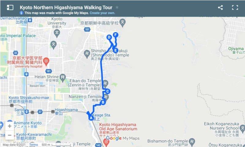 Map walking tour of Northern Higashiyama area of Kyoto