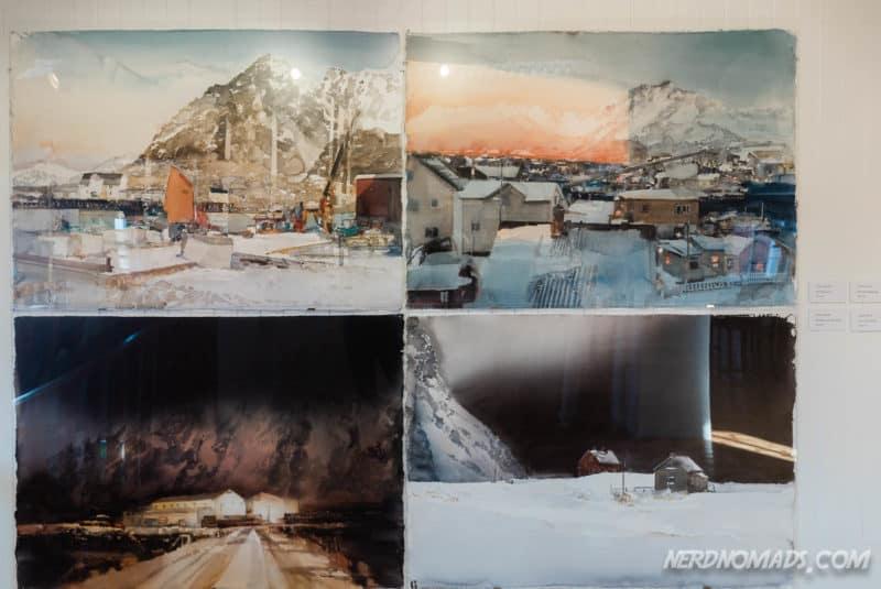 Beautiful Aquarelles by Lars Lerin at Gallery Lofoten in Henningsvaer