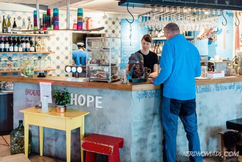 The bar at Klatrekafeen Henningsvaer Lofoten