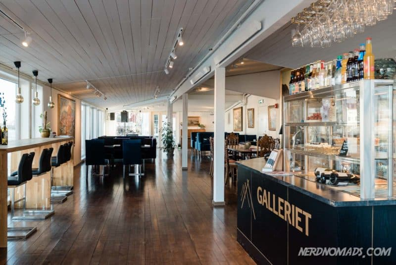Cafe and wine bar at Gallery Lofoten in Henningsvaer