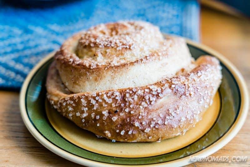 Delicious cinnamon bun at Lysstoperiet Cafe Henningsvaer Lofoten
