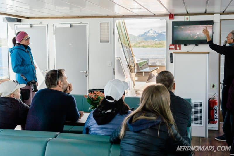 Inside the ship Trollfjord cruise with silent electric ship Brim Explorer