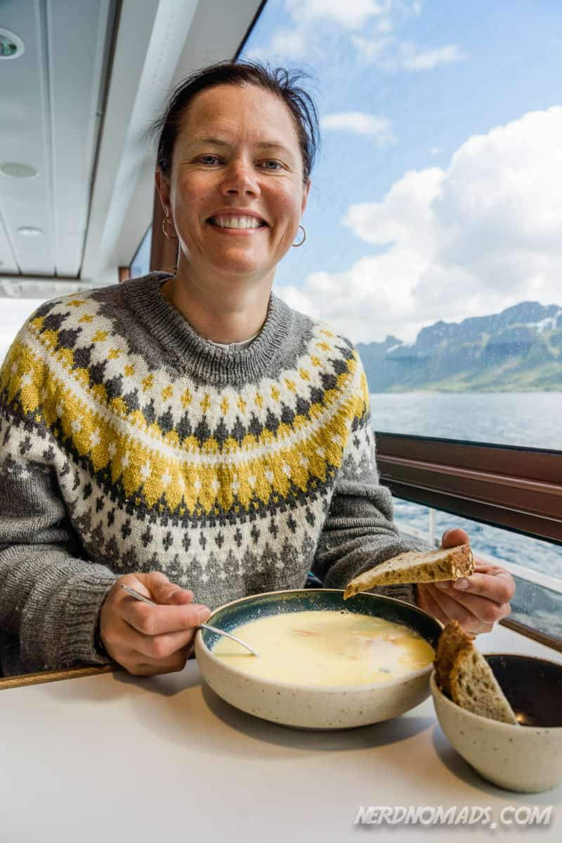 Me having fish soup at Trollfjord cruise with silent electric ship Brim Explorer