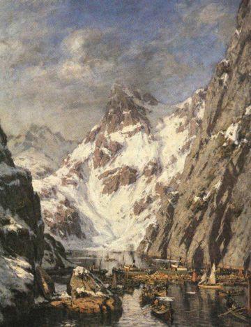 The painting Trollfjordslaget by Gunnar Berg