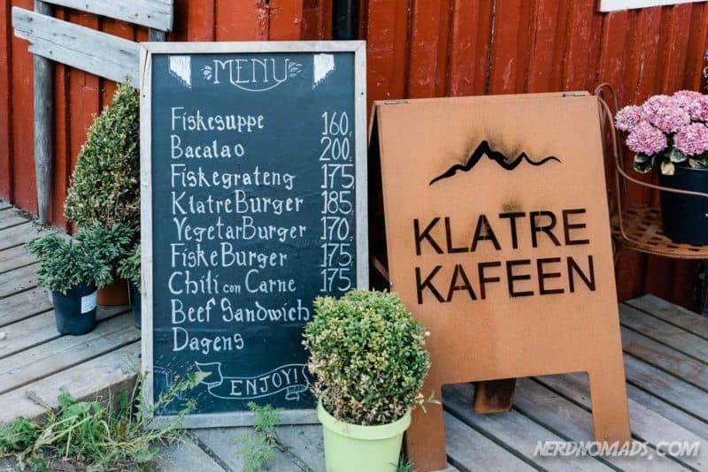 The menu at Klatrekafeen in Henningsvaer, Lofoten