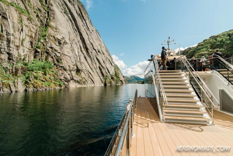 Narrow Trollfjord cruise with silent electric ship Brim Explorer