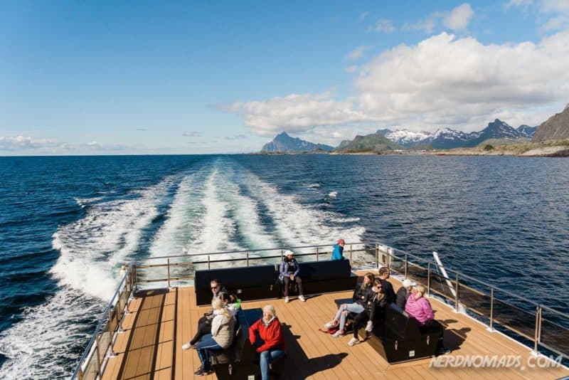 Outside deck at Trollfjord cruise with silent electric ship Brim Explorer