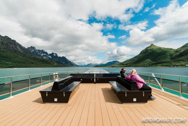 Outdoor deck at Trollfjord cruise with silent electric ship Brim Explorer
