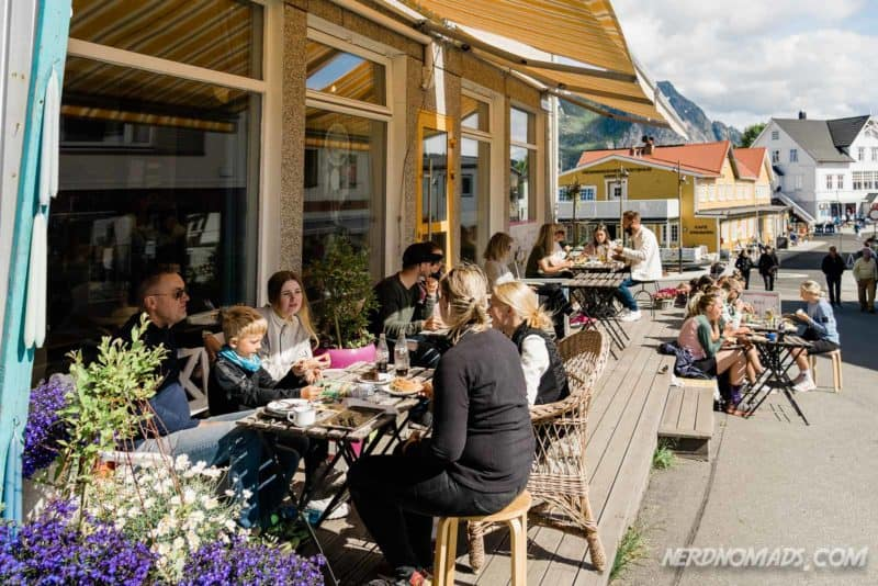 Nice outside seating at Lysstoperiet Cafe Henningsvaer Lofoten