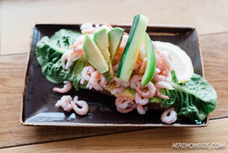 Lovely shrimp sandwich at Lysstoperiet Cafe Henningsvaer Lofoten