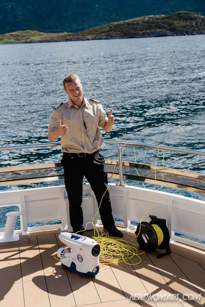 Sea drone at Trollfjord cruise with silent electric ship Brim Explorer