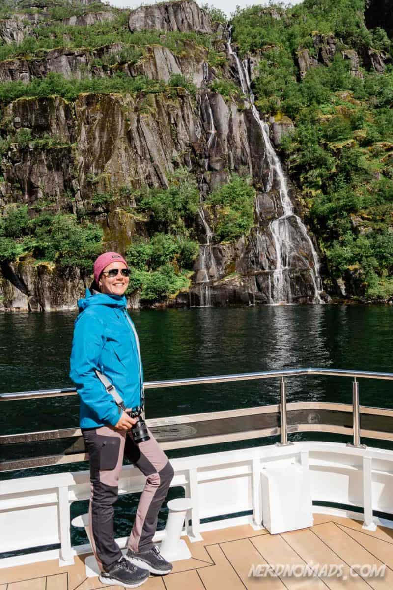 Waterfall Trollfjord cruise with silent electric ship Brim Explorer