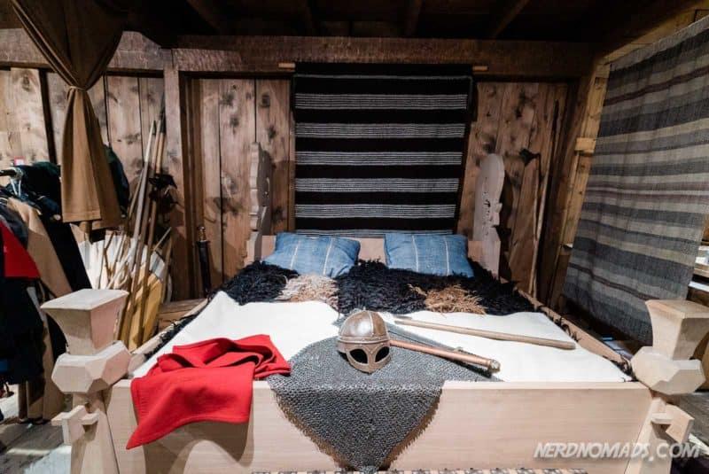 Viking bed from Lofotr longhouse at Borg