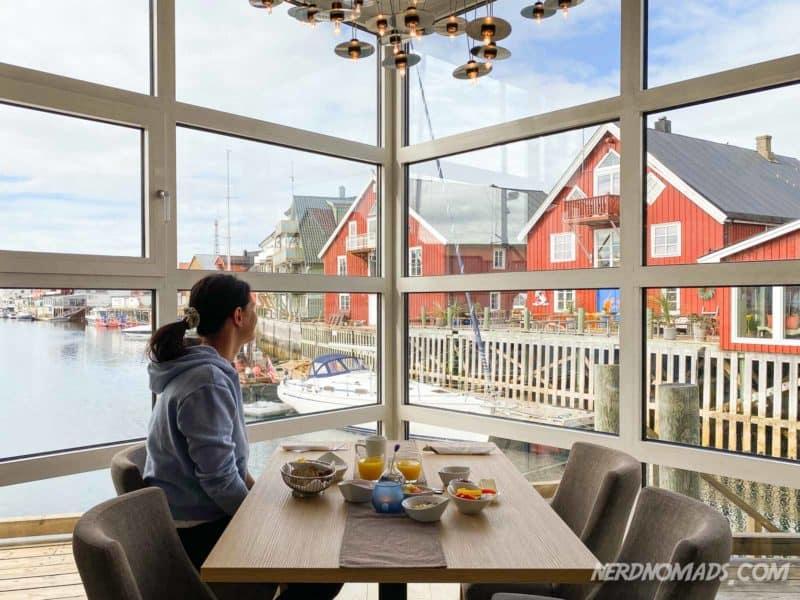 Lovely breakfast at Henningsvaer Bryggehotel