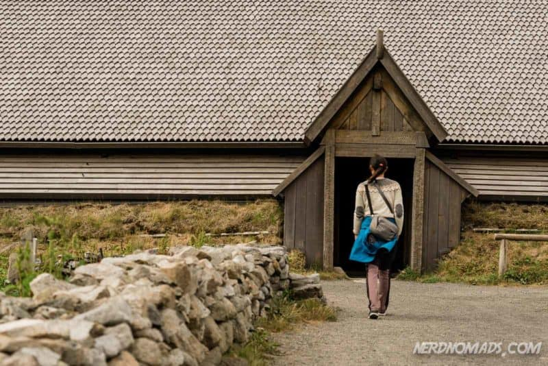 entrance to the chieftains longhouse at Lofotr, Borg