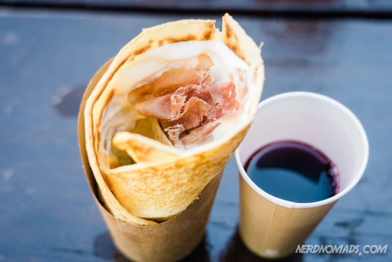 pancake with sour cream and salmon