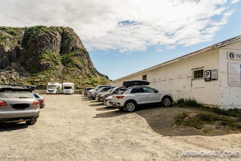 Parking lot for walking Festvaagtinden in Henningsvaer, Lofoten