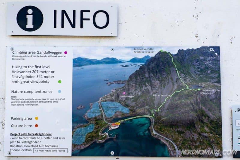 Walking path to Festvaagtinden mountain in Henningsvaer, Lofoten