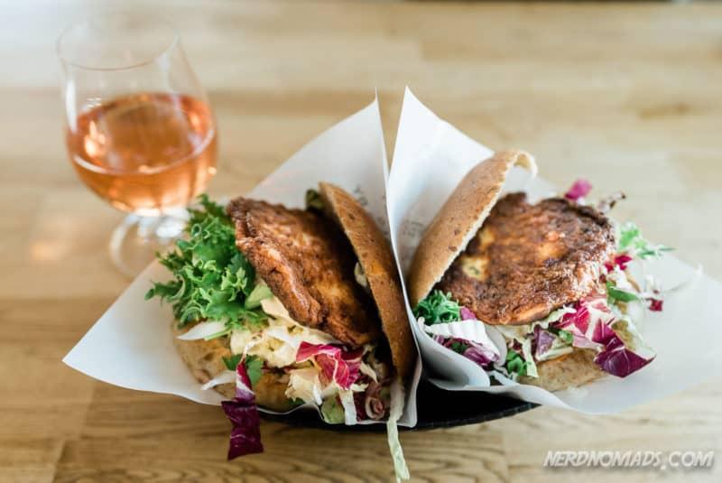Famous fishburger at Anitas Seafood Sakrisoy Reine Lofoten