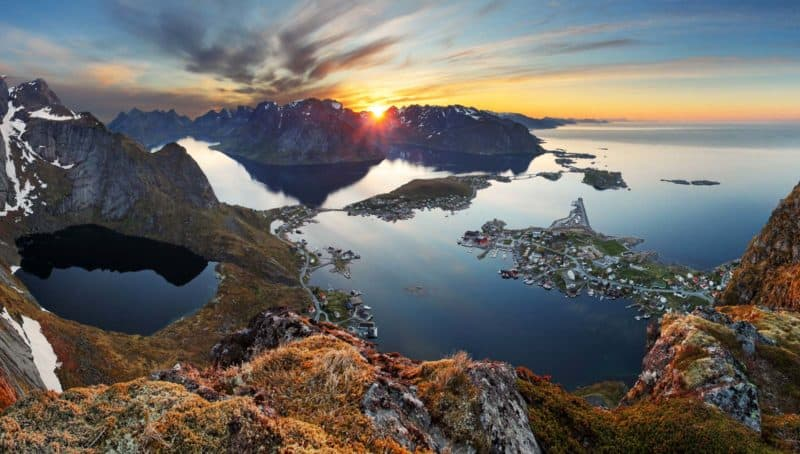 Amazing panoramic view from Reinebringen Mountain, Reine, Lofoten, Norway