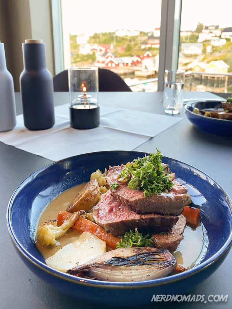 Delicious steak at Havet Restaurant in Sorvagen, Reine, Lofoten