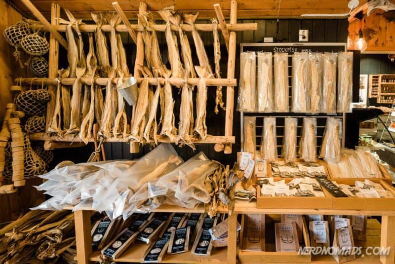 Stockfish for sale at Anitas Seafood Sakrisoy Reine Lofoten