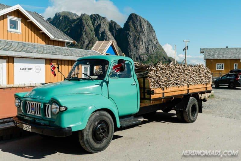 Truck full of stock fish in Reine, Lofoten