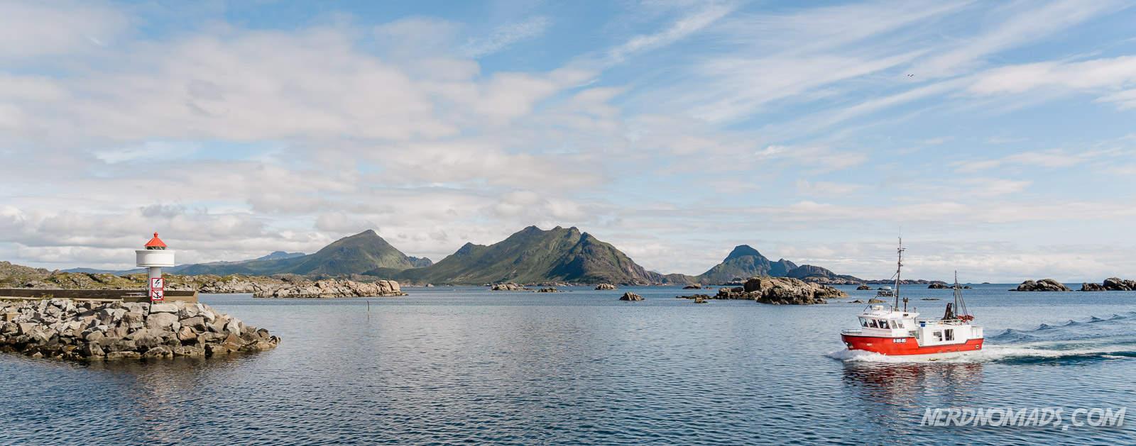 Fishing boat entering Ballstad Lofoten, Norway