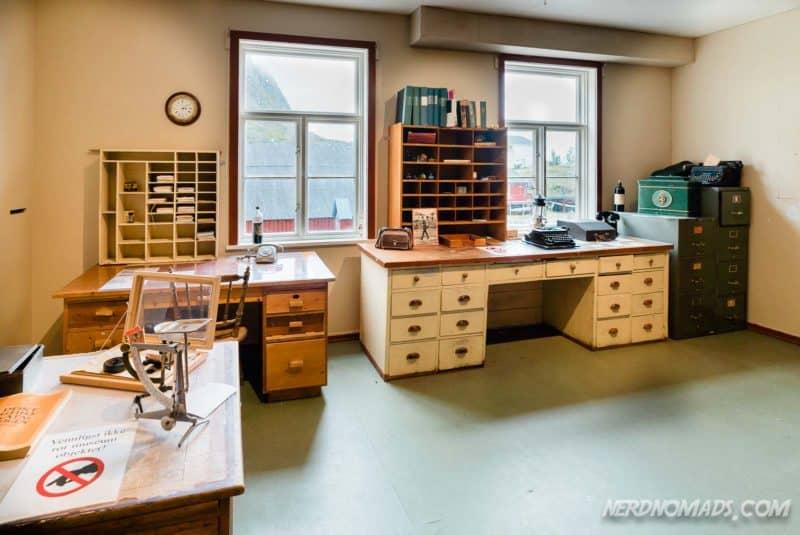 Inside post office Norwegian Fishing Village Museum A Lofoten
