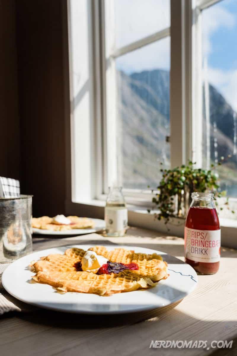 Norwegian waffles at Nusfjord Lofoten