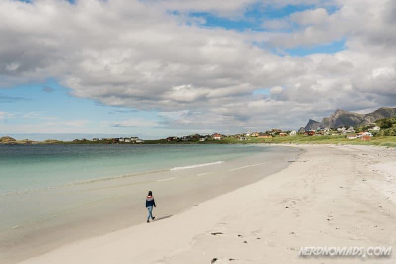 The long white-sandy Ramberg Beach in Lofoten