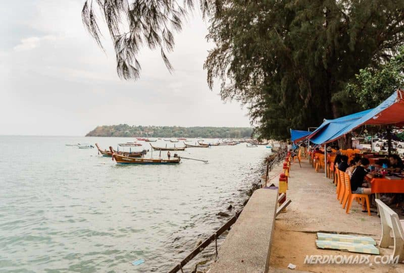 sea food restaurants along the sea front in Rawai, Phuket