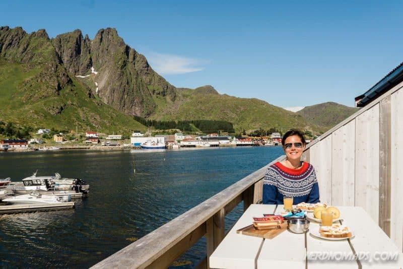 Breakfast at rorbu at Ballstad Lofoten, Norway