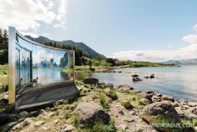 Shower cubicle art piece by Dan Graham in Lofoten