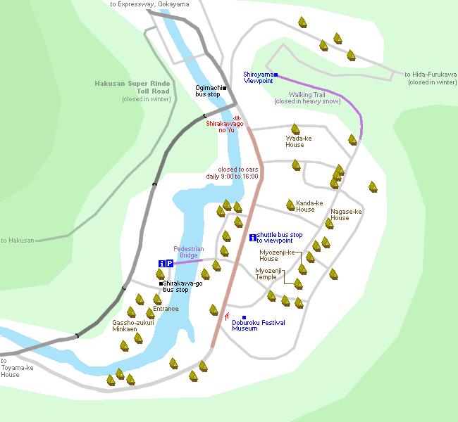 Shirakawa-go and Ogimachi map