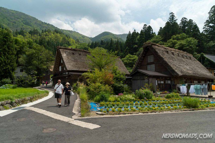 Shirakawa-go intersection with old style Japanese houses