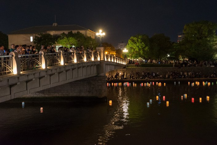 Floating lanterns Hiroshima Peace Memorial Ceremony