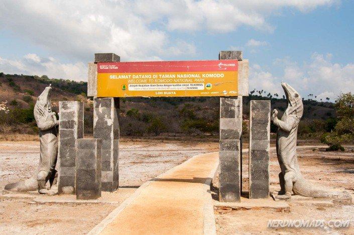 The gate to Komodo National Park on Rinca Island