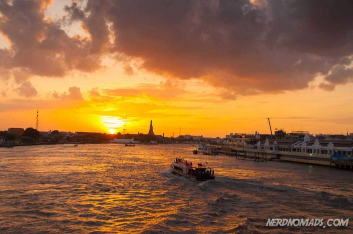 Bangkok river Chao Phraya at sunset