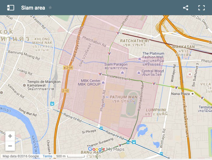 Map showing where to stay in Siam