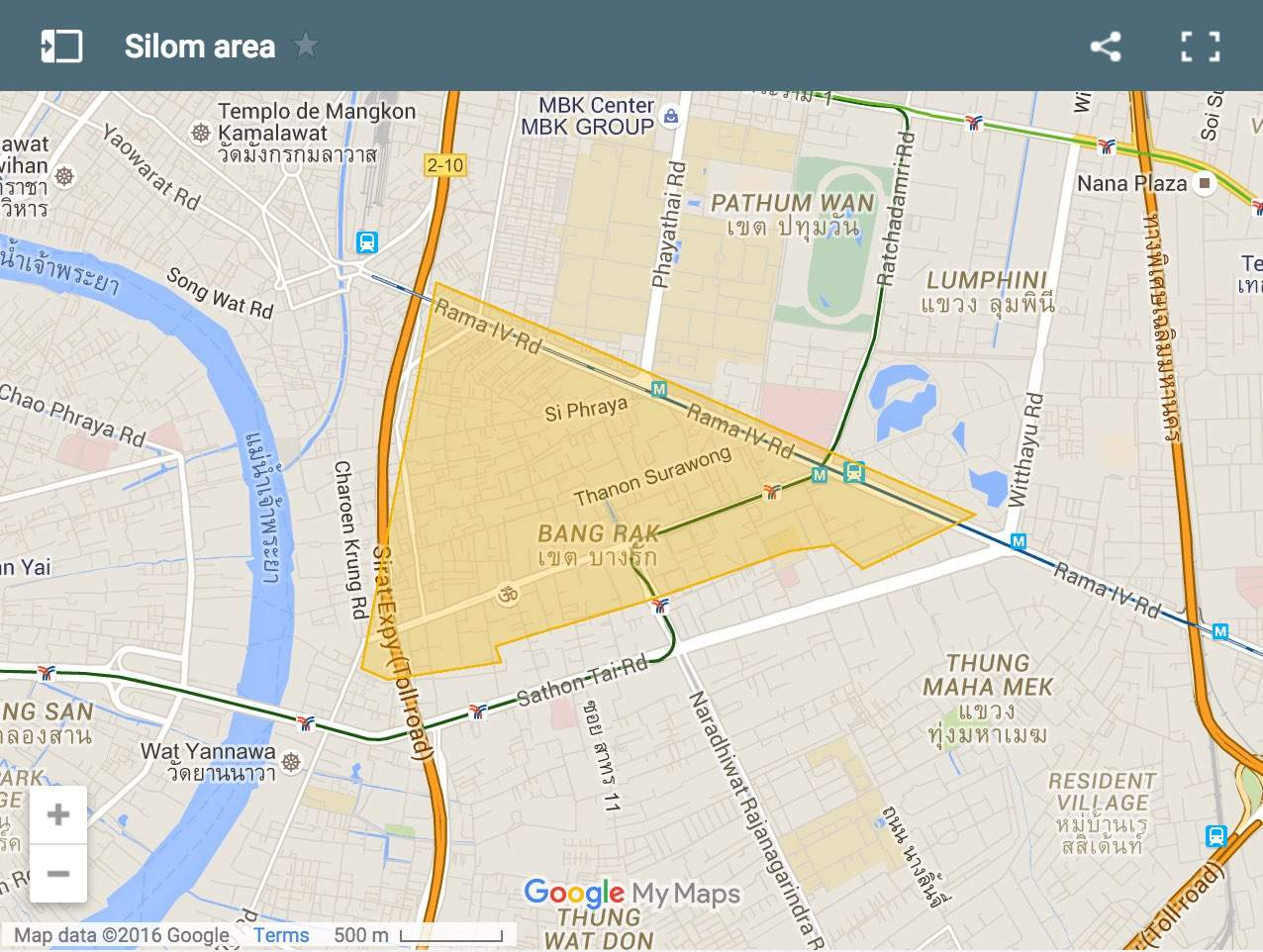 Map showing where to stay in Silom